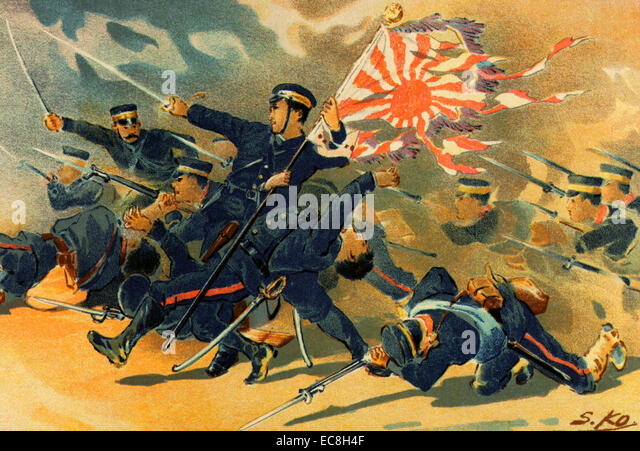 RUSSO-JAPANESE WAR 1904-1905. A Japanese print shows troops of the 1st Division of the Imperial Japanese Army at - Stock Image