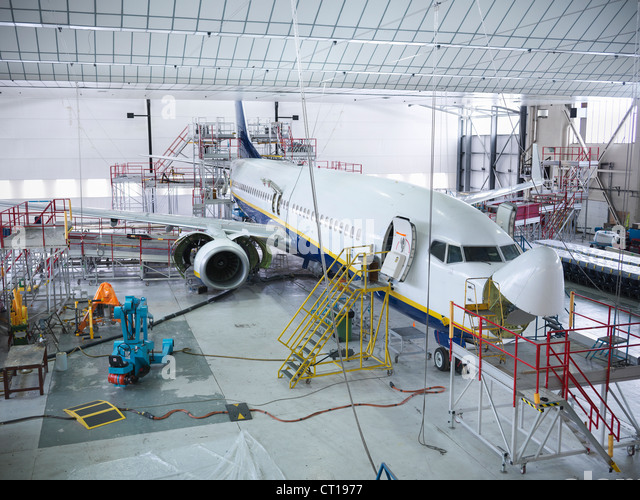 Airplane built in hangar - Stock Image