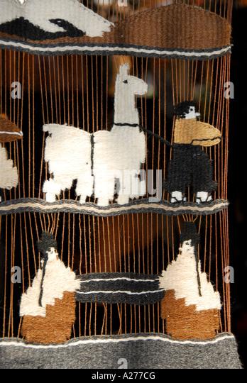 Chile Santiago  Pueblito de Los Domínicos shopping souvenirs llama tapestry - Stock Image
