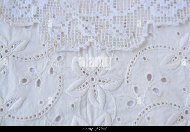 textile pattern lace fabric sewing stitching cloth horizontal beige nobody - Stock Image
