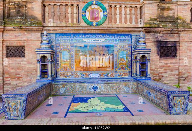 Glazed tiles bench of spanish province of Zaragoza at Plaza de Espana, Seville, Spain - Stock Image