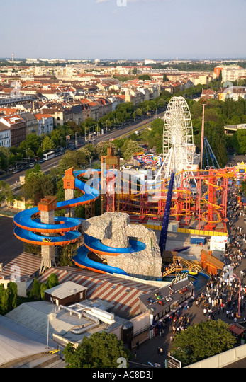 Vienna Austria Prater view from Big Wheel - Stock Image