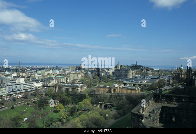 Scotland View from Edinburgh Castle shows Princes St Gardens Waverley Station - Stock Image