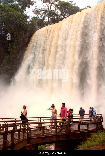Brazil Argentina Panama border Iguazu National park Iguazu Falls viewpoint people tourists - Stock Image