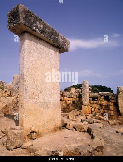 Torralba Minorca Balearic Islands Spain Taula at archeological site - Stock Image