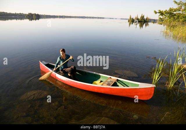 Paddling Canoe Ontario Stock Photos Amp Paddling Canoe