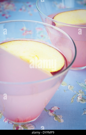 A Close Up View of Two Pink Apple Martinis - Stock Image