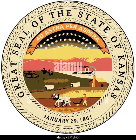 Kansas State Seal - Stock Image