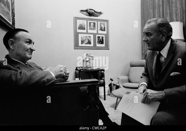 Senate Majority Leader Mike Mansfield in conversation with President Lyndon Johnson in the last months of Johnson's - Stock Image