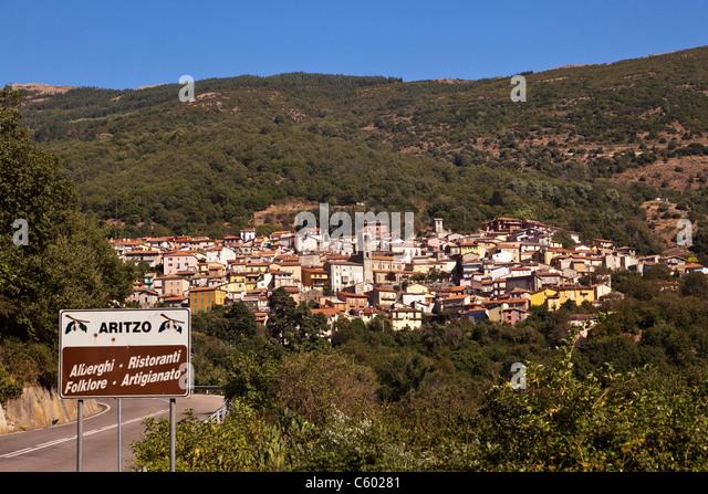 Aritzo village, Italy Sardinia - Stock Image