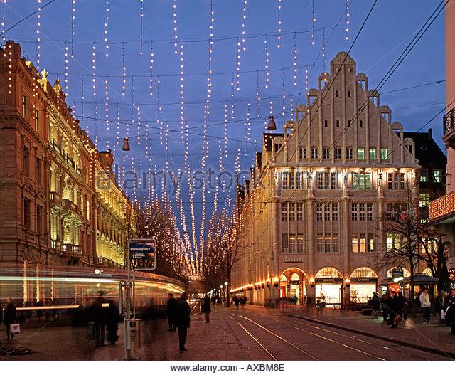 Switzerland Zurich Bahnhofstrasse christmas illumination - Stock Image