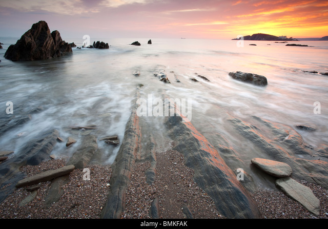 Bantham Bay at Sunset, Devon, UK - Stock Image