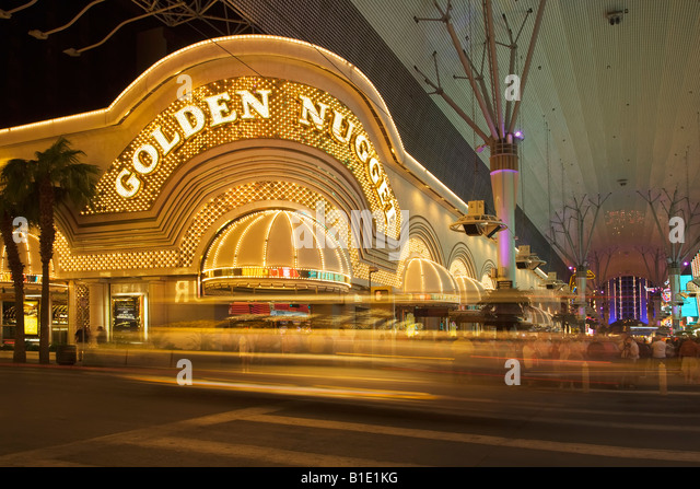 The famous old Las Vegas strip with the Golden Nugget Casino along Fremont Street in Las Vegas in Nevada - Stock Image