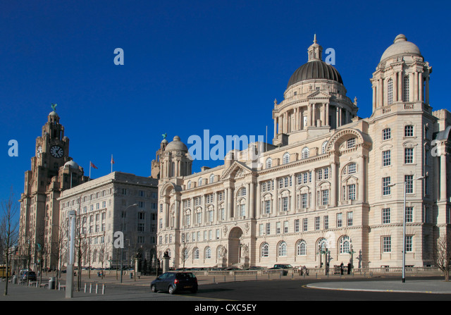 Pierhead, with Liver building, Cunard building and Dock company building, UNESCO World Heritage Site, Liverpool, - Stock Image