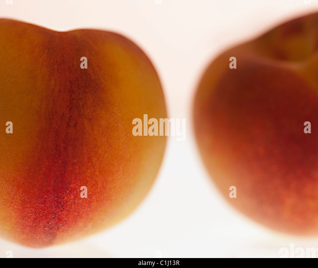 Two peaches white background - Stock Image