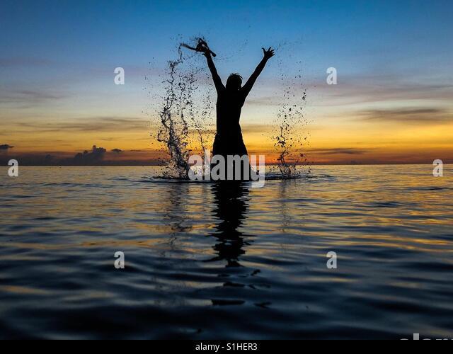 Sunset splash - Stock-Bilder