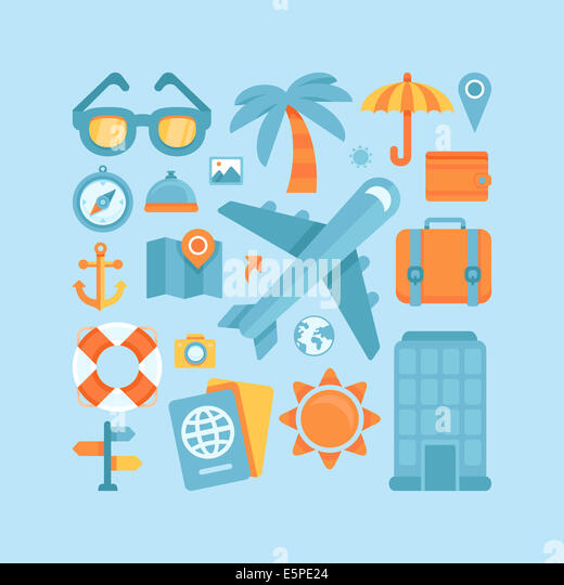 Icons and concepts in flat style - travel and vacation, Trendy banners and signs - summer and journey - Stock Image