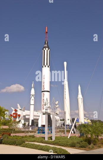 Rocket garden outdoor attraction Kennedy Space Center Visitor Center, Florida - Stock Image