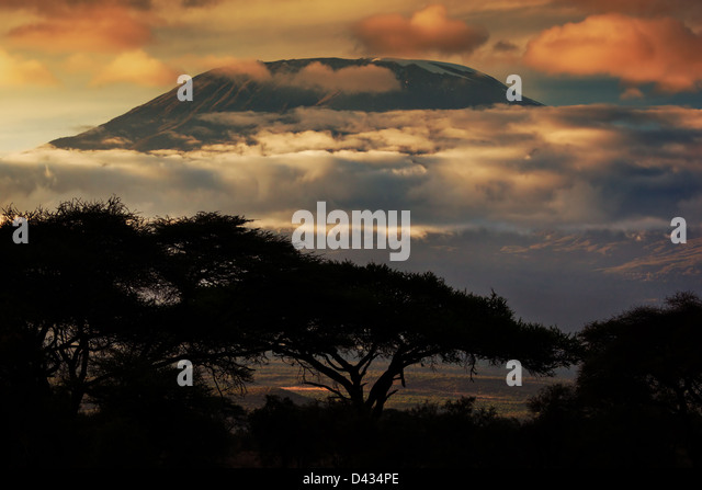 Africa landscape - Mount Kilimanjaro and clouds line at sunset, view from savanna landscape in Amboseli, Kenya, - Stock Image