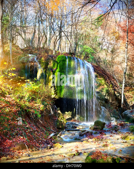 Beautiful waterfall Silver Jets at sunlight in autumn - Stock Image
