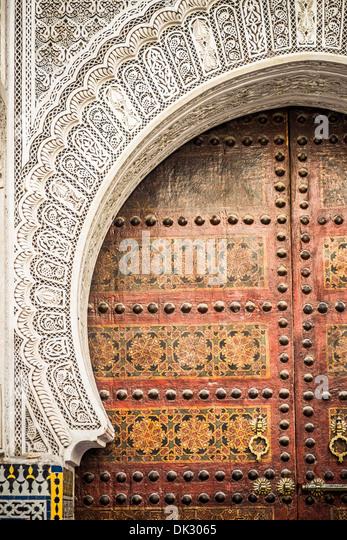 Typical architecture of moroccan door in Marrakech - Stock-Bilder