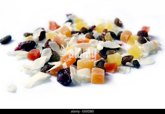 Dried Fruits Isolated On the White Background - Stock Image