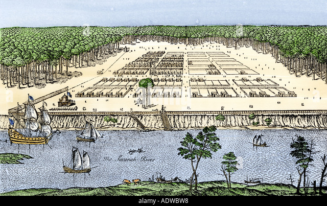 Early Savannah as established by James Oglethorpe in 1741 - Stock Image