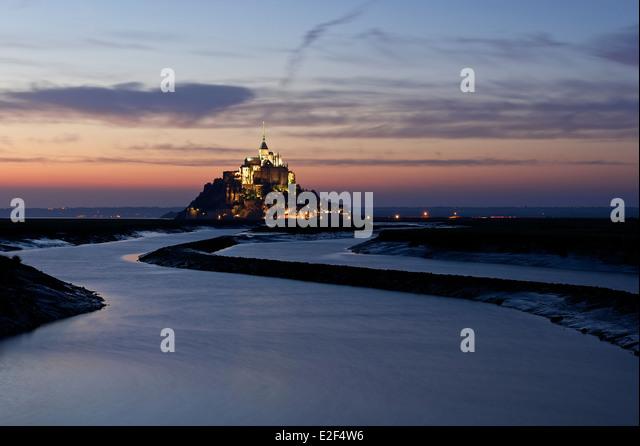 Sunset at Mont Saint Michel - Stock-Bilder