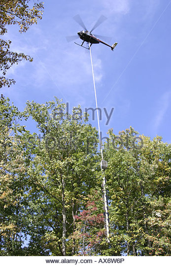 West Virginia Leivasy helicoptor pruning tall trees near power lines vertical saw American Electric Power Company - Stock Image