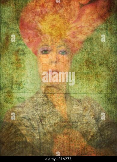 Woman with Floral Hat - Stock Image