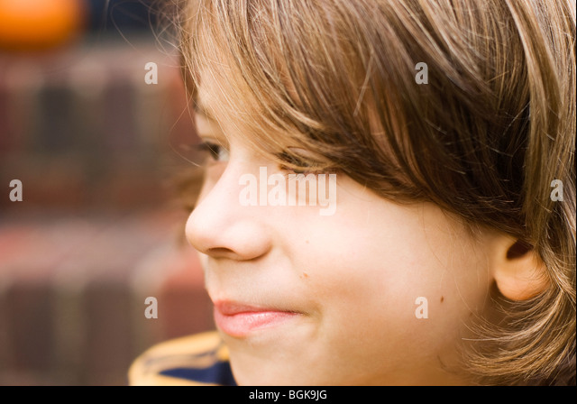 close up of boy's face - Stock Image