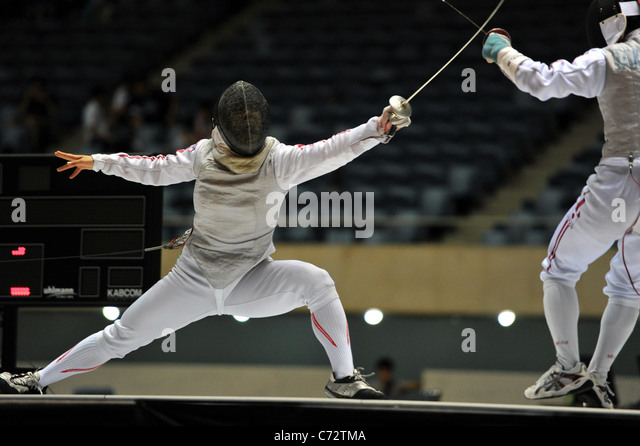 Hanae Ikehata (JPN) fights during the 64nd All Japan fencing Championships in Tokyo, Japan. - Stock Image