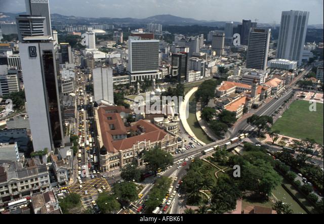 Malaysia Kuala Lumpur aerial city skyline downtown traffic - Stock Image