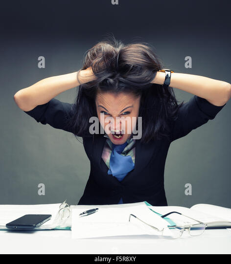 Young caucasian  girl goes crazy - Stock Image