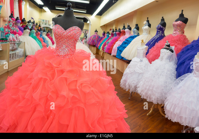 Los Angeles California CA L.A. Downtown shop store retail display business shopping mannequin quinceanera quince - Stock Image