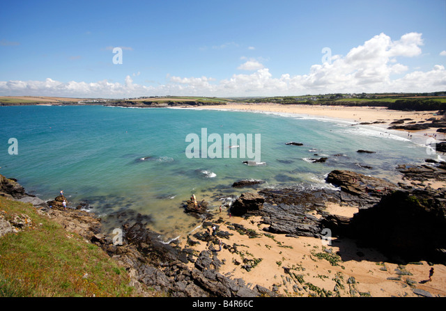 Crantock Bay in Cornwall UK - Stock Image