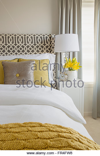 Contemporary bed wtih pillows and throw blanket. - Stock-Bilder