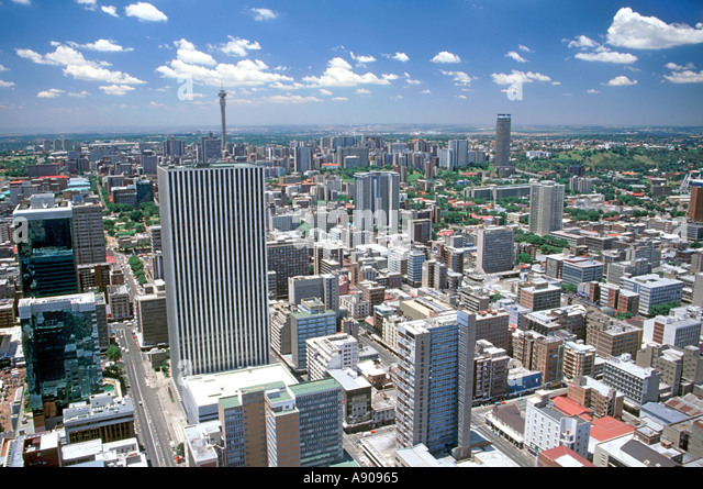 A view of Johannesburg and its northern suburbs as seen from the top floor of the Carlton Centre. - Stock Image