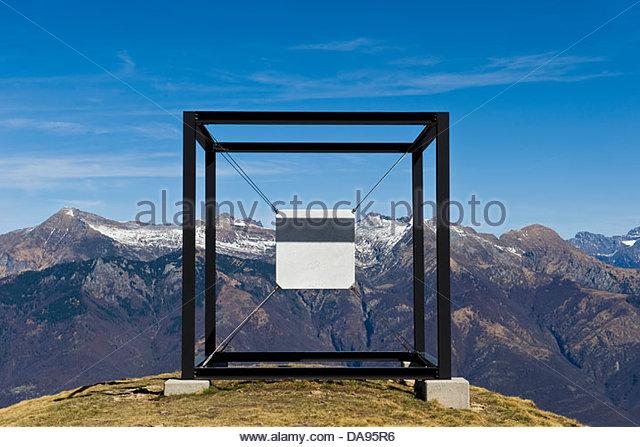 """Suspended Cube"" by artists Jaya Schürch,Alpe Foppa,Monte Tamaro,Canton Ticino,Switzerland - Stock Image"