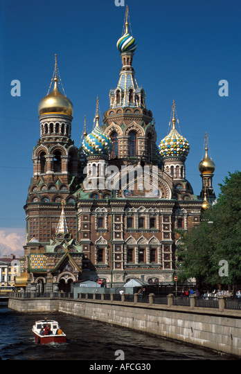 Russia former Soviet Union St. Petersburg Griboedov Canal tour boat Church on Savior's Blood Czar Alexander - Stock Image