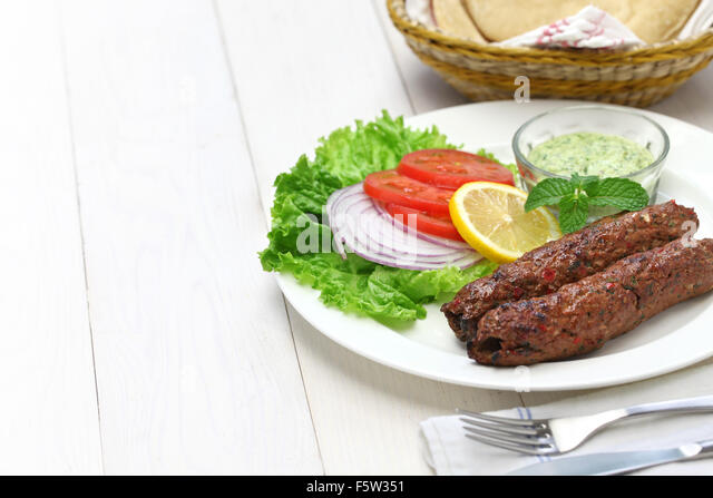 mutton seekh kabab with mint chutney - Stock Image