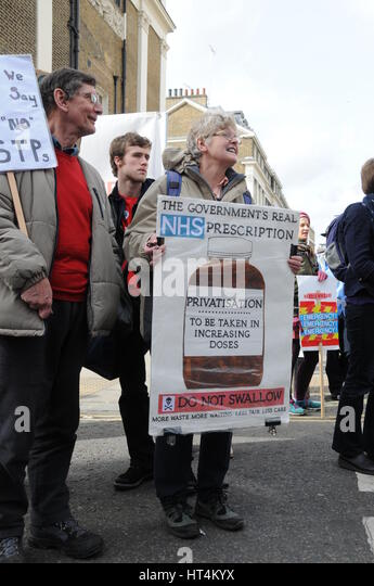 National protest in London, against further cuts to the NHS. - Stock Image