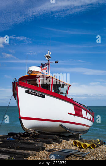 Fishing boat beached at Deal in Kent UK - Stock Image