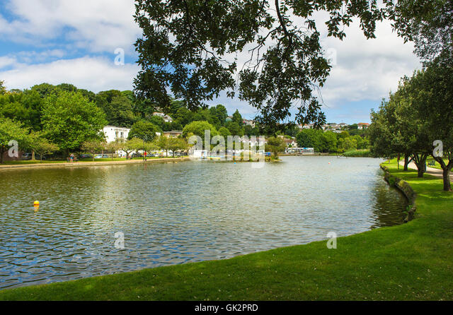 The boating lake in Trenance Gardens in Newquay, Cornwall. - Stock Image