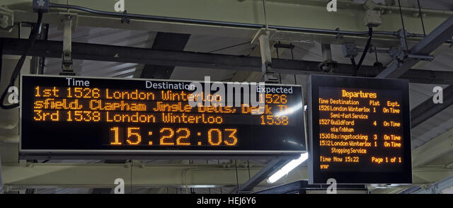 Christmas Festive Humour on South West Trains information displays, Central London,England,UK - Stock Image