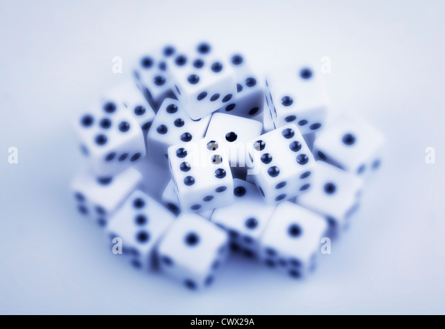 Dice, partly blurry, symbolic image for gambling - Stock-Bilder