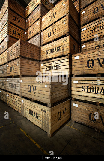 warehouse wooden storage crates potato vertical - Stock Image