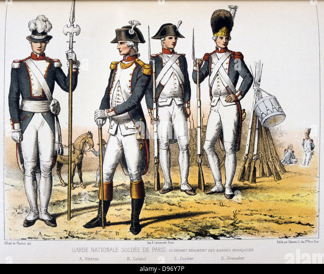 Paris members of the National Guard. 'From Histoire des corps de troupes de la ville de Paris' by Francois - Stock Image