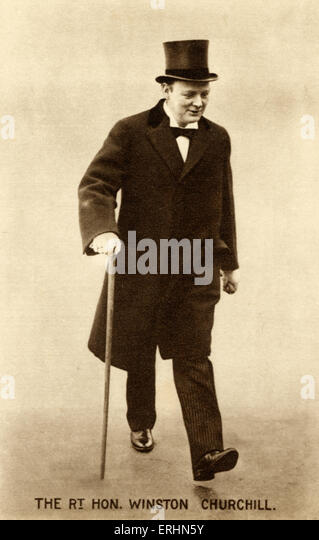 CHURCHILL, Sir Winston. English politician wearing top hat - Stock Image