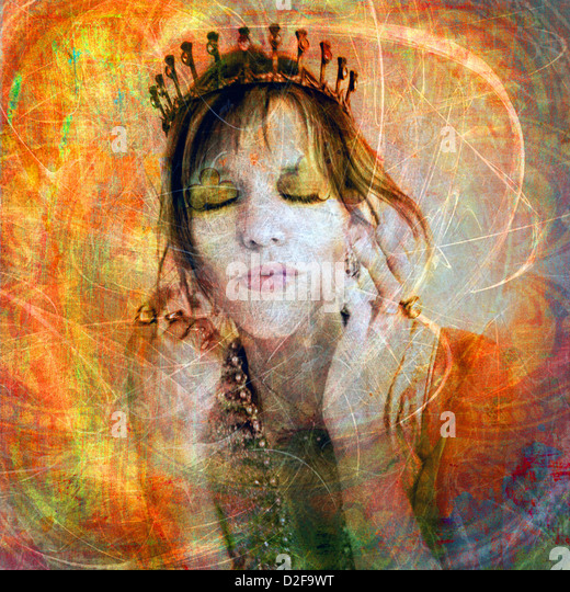 Woman wearing a tiara. Photo based illustration.  - Stock Image